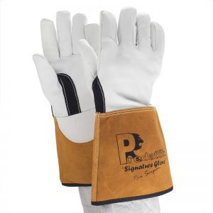 Predator – leather gauntlet gardening gloves.