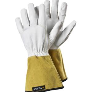 Tegera 126A – leather gauntlet gardening gloves.